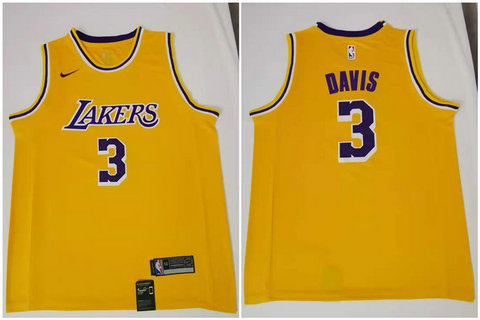 Lakers 3 Anthony Davis Yellow Nike Swingman Jerseys