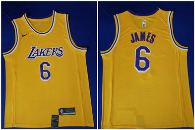 Lakers 6 Lebron James Yellow Nike Swingman Jersey