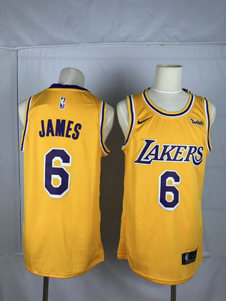 Lakers 6 Lebron James Yellow Nike Swingman Jerseys
