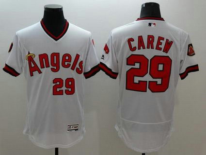Los Angeles Angels Of Anaheim #29 Rod Carew White Flexbase Authentic Collection Cooperstown Stitched MLB Jersey