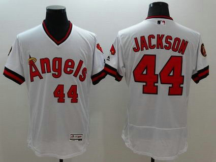 Los Angeles Angels Of Anaheim #44 Reggie Jackson White Flexbase Authentic Collection Cooperstown Stitched MLB Jersey