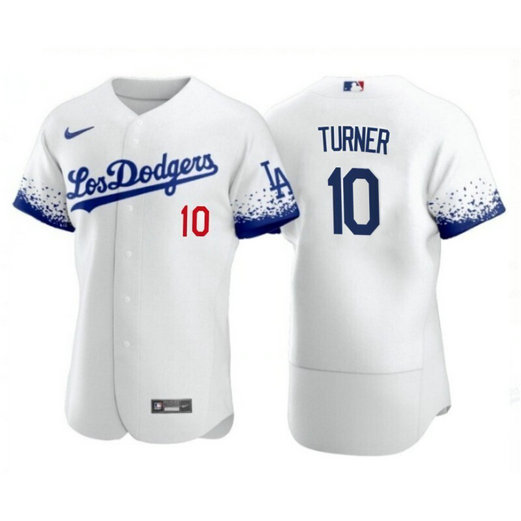 Los Angeles Dodgers #10 Justin Turner 2021 City Connect White Jersey
