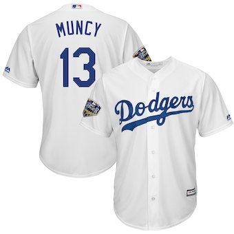 Los Angeles Dodgers #13 Kenley Jansen Majestic White 2018 World Series Cool Base Player Jersey