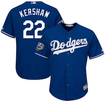 Los Angeles Dodgers #22 Clayton Kershaw Majestic Royal 2018 World Series Cool Base Player Jersey