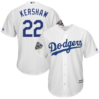 Los Angeles Dodgers #22 Clayton Kershaw Majestic White 2018 World Series Cool Base Player Jersey