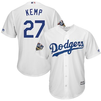 Los Angeles Dodgers #27 Kenley Jansen Majestic White 2018 World Series Cool Base Player Jersey