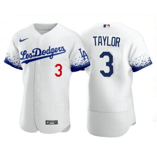 Los Angeles Dodgers #3 Chris Taylor 2021 City Connect White Jersey