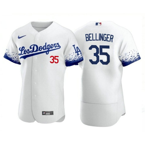 Los Angeles Dodgers #35 Cody Bellinger 2021 City Connect White Jersey
