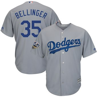 Los Angeles Dodgers #35 Cody Bellinger Majestic Grey 2018 World Series Cool Base Player Jersey