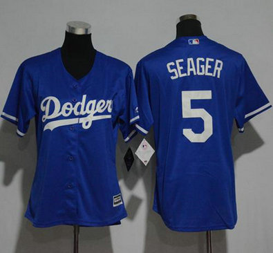 Los Angeles Dodgers #5 Corey Seager Blue Alternate Women's Stitched MLB Jersey