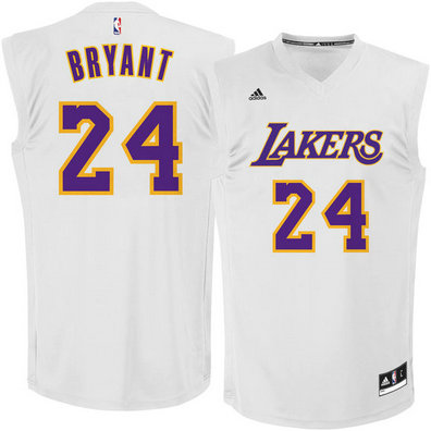 Los Angeles Lakers Stitched #24 Kobe Bryant White Chase Fashion Replica Jersey