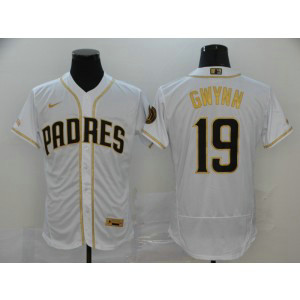 MLB Padres 19 Tony Gwynn White Gold 2020 Nike Flexbase Men Jersey