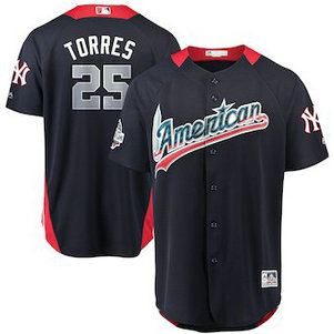 Men's 2018 MLB All-Star Game American League #25 Gleyber Torres Majestic Navy Home Run Derby Player Jersey