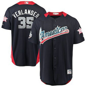 Men's 2018 MLB All-Star Game American League #35 Justin Verlander Majestic Navy Home Run Derby Player Jersey