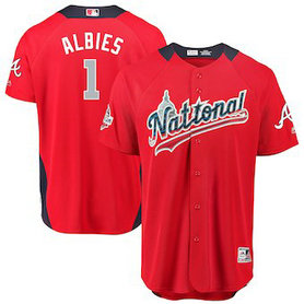 Men's 2018 MLB All-Star Game National League #1 Ozzie Albies Majestic Red Home Run Derby Player Jersey