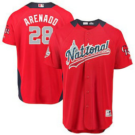 Men's 2018 MLB All-Star Game National League #28 Nolan Arenado Majestic Red Home Run Derby Player Jersey
