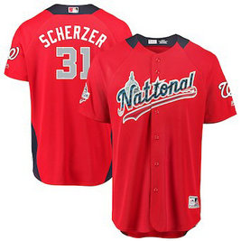 Men's 2018 MLB All-Star Game National League #31 Max Scherzer Majestic Red Home Run Derby Player Jersey