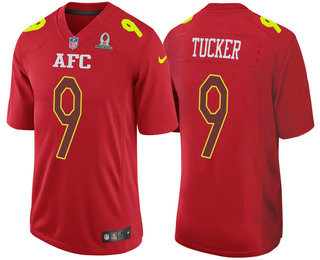 Men's AFC Baltimore Ravens #9 Justin Tucker Red 2017 Pro Bowl Stitched NFL Nike Game Jersey