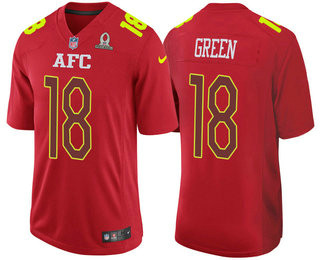 Men's AFC Cincinnati Bengals #18 A.J. Green Red 2017 Pro Bowl Stitched NFL Nike Game Jersey