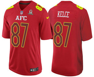 Men's AFC Kansas City Chiefs #87 Travis Kelce Red 2017 Pro Bowl Stitched NFL Nike Game Jersey