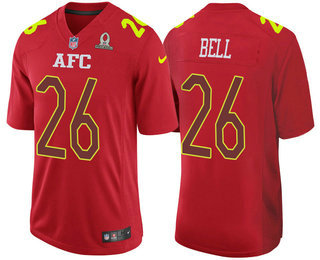 Men's AFC Pittsburgh Steelers #26 Le'Veon Bell Red 2017 Pro Bowl Stitched Nike Game Jersey