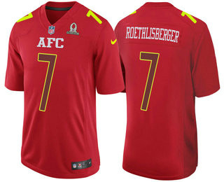 Men's AFC Pittsburgh Steelers #7 Ben Roethlisberger Red 2017 Pro Bowl NFL Stitched Nike Game Jersey