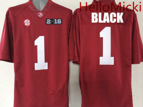 Men's Alabama Crimson Tide #1 Chris Black Red 2016 BCS patch College Football Nike Limited Jersey