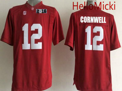 Men's Alabama Crimson Tide #12 David Cornwell Red 2016 BCS College Football Nike Limited Jersey