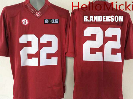 Men's Alabama Crimson Tide #22 Ryan Anderson Red 2016 BCS patch College Football Nike Limited Jersey