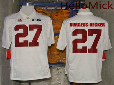 Men's Alabama Crimson Tide #27 Shawn Burgess-Becker White 2016 BCS College Football Nike Limited Jersey