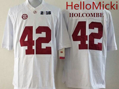 Men's Alabama Crimson Tide #42 Keith Holcombe White 2016 BCS College Football Nike Limited Jersey