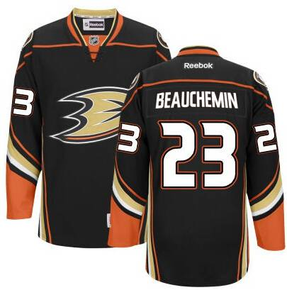 Men's Anaheim Ducks #23 Francois Beauchemin Black Third Jersey