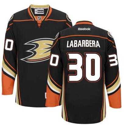 Men's Anaheim Ducks #30 Jason LaBarbera Black Third Jersey