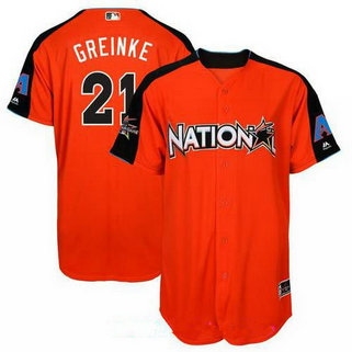 Men's Arizona Diamondbacks #21 Zack Greinke National League Majestic Orange 2017 MLB All-Star Game Authentic Home Run Derby Jersey