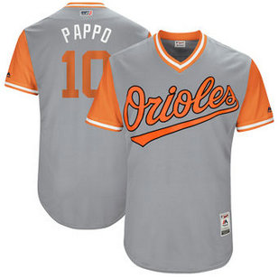 Men's Baltimore Orioles #10 Adam Jones Nick Name Pappo Majestic Gray 2017 Players Weekend Jersey