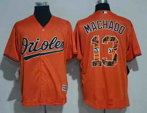 Men's Baltimore Orioles #13 Manny Machado Retired Orange Team Logo Ornamented MLB Majestic Cool Base Stitched Jersey