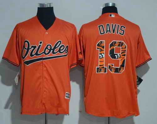 Men's Baltimore Orioles #19 Chris Davis Orange Team Logo Ornamented MLB Majestic Cool Base Stitched Jersey