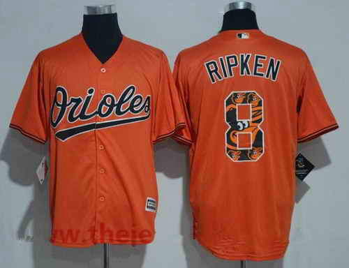 Men's Baltimore Orioles #8 Cal Ripken Retired Orange Team Logo Ornamented MLB Majestic Cool Base Stitched Jersey
