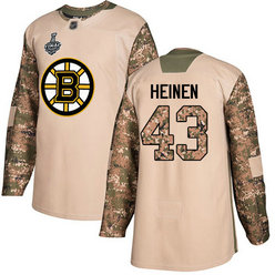 Men's Boston Bruins #43 Danton Heinen Camo Authentic 2019 Stanley Cup Final 2017 Veterans Day Bound Stitched Hockey Jersey
