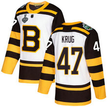 Men's Boston Bruins #47 Torey Krug 2019 Stanley Cup Final White Authentic 2019 Winter Classic Bound Stitched Hockey Jersey
