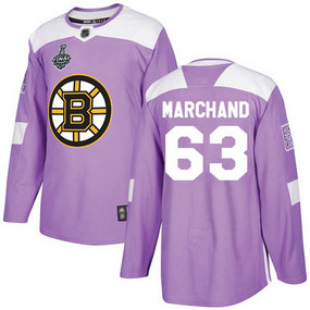 Men's Boston Bruins #63 Brad Marchand 2019 Stanley Cup Final Purple Authentic Fights Cancer Bound Stitched Hockey Jersey