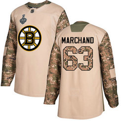 Men's Boston Bruins #63 Brad Marchand Camo Authentic 2019 Stanley Cup Final 2017 Veterans Day Bound Stitched Hockey Jersey