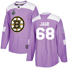 Men's Boston Bruins #68 Jaromir Jagr 2019 Stanley Cup Final Purple Authentic Fights Cancer Bound Stitched Hockey Jersey