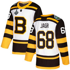 Men's Boston Bruins #68 Jaromir Jagr 2019 Stanley Cup Final White Authentic 2019 Winter Classic Bound Stitched Hockey Jersey