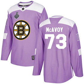 Men's Boston Bruins #73 Charlie McAvoy 2019 Stanley Cup Final Purple Authentic Fights Cancer Bound Stitched Hockey Jersey