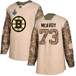 Men's Boston Bruins #73 Charlie McAvoy Camo Authentic 2019 Stanley Cup Final 2017 Veterans Day Bound Stitched Hockey Jersey