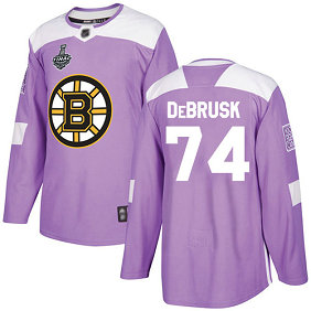 Men's Boston Bruins #74 Jake DeBrusk 2019 Stanley Cup Final Purple Authentic Fights Cancer Bound Stitched Hockey Jersey