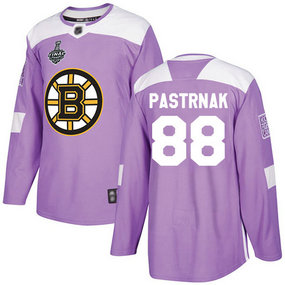 Men's Boston Bruins #88 David Pastrnak 2019 Stanley Cup Final Purple Authentic Fights Cancer Bound Stitched Hockey Jersey