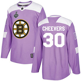 Men's Boston Bruins 30 Gerry Cheevers 2019 Stanley Cup Final Purple Authentic Fights Cancer Bound Stitched Hockey Jersey