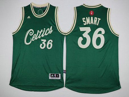 Men's Boston Celtics #36 Marcus Smart Revolution 30 Swingman 2015 Christmas Day Red Jersey